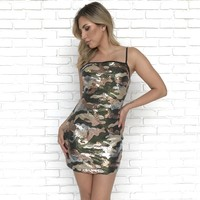 All Eyes on You Camo Sequin Dress