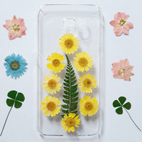Samsung Galaxy S6 Case pressed flower phone case for galaxy s6 edge s6 edge plus s5 s4 note 3 note 4 note 5 yellow floral phone cover
