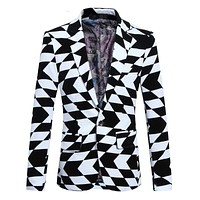 Men's Geometric Print Pattern Single Button Blazer