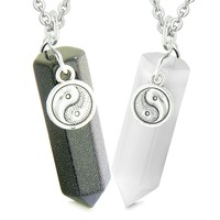 Yin Yang Amulets Love Couples Best Friends Crystal Points Goldstone White Simulated Cats Eye Necklaces