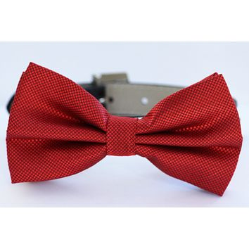 Red Bow Tie, Chic Dog Bowtie, Chic Dog Accessory. with high quality leather collar