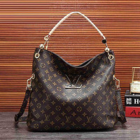 Hipgirls Louis Vuitton LV Hot Sale Women's Full Printed Letters Gold Buckle Shoulder Bag Shopping Bag
