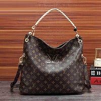 Louis Vuitton LV Hot Sale Women's Full Printed Letters Gold Buckle Shoulder Bag Shopping Bag
