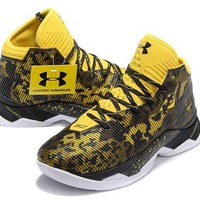 DCCKIJ2 Men's Under Armor Curry 2.5 Basketball Shoes Black Yellow