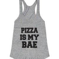 Pizza Is My Bae-Female Athletic Grey Tank
