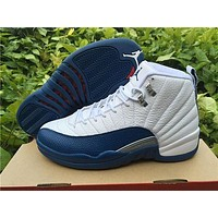 "Air Jordan 12 Retro ""French Blue"" Sports Basketball Shoes"