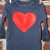 """boys valentine's day one piece, size 9-12 months, red """"minky"""" heart on heathered navy blue long sleeve bodysuit, ready to ship"""