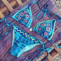 VONE05U FASHION HOT BLUE GEOMETRIC CLASSY BIKINI TWO PIECE