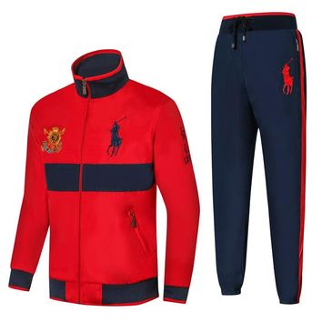 Polo Ralph Lauren new embroidered medal logo men's outdoor sportswear two-piece red