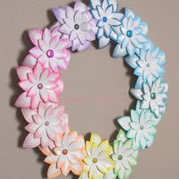 Easter Decor Spring Decor Pastel Rainbow Easter Wreath Paper Flower 12 inch