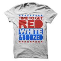 4th of July Tshirt Time To Get Red White And Boozed Tee USA Funny Independence Day Shirt Drinking Beer AmericaTees