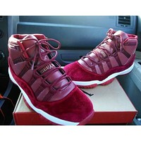 Nike Air Jordan 11 Velvet Night Maroon Burgundy Gold Velvet Men's Basketball Sneakers Shoes