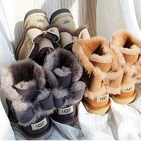 UGG Fashion Winter Women Bowknot Flat Warm Snow Ankle Boots-4