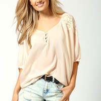 Kate French Crepe Batwing Lace Top