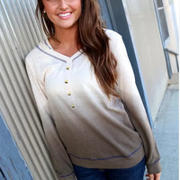 Casual Dip Dye Long Sleeve Button Front Hooded Sweater