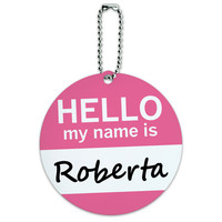 Roberta Hello My Name Is Round ID Card Luggage Tag