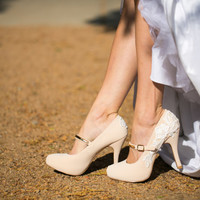 Wedding Heels - Nude Mary Jane Heels, Nude Bridal Shoes, Nude Wedding Shoes with Ivory Lace. US Size 8