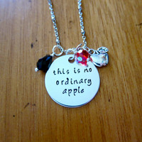 """Snow White Inspired Necklace. Poison Apple. Evil Queen Villain. """"This is no ordinary apple"""". Snow White. Silver colored. Swarovski crystals"""