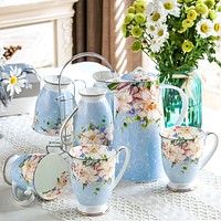 8PCS  Floral Kitchen Comfort  Tea Cup Set