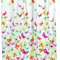BenandJonah Collection Fabric Shower Curtain 70 x 72 inch  Butterflies