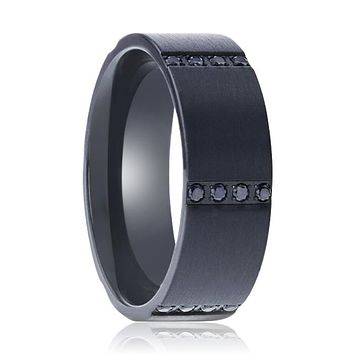 MYSTERIOUS Flat Brushed Black Titanium Men's Wedding Ring With 6 Sets of Quadruple Black Sapphires In Horizontal Channels