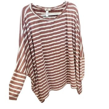 Burgundy Striped Batwing Long Sleeve Top Plus Size
