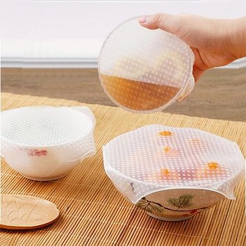 Hot Fashion Portable 4PCS Silicone Wraps Kitchen