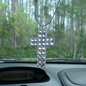BLING CAR CROSS For Rearview Mirror - Handpainted Wood Cross w/ Clear Rhinestones,Silver Glitter Paint and Metallic Silver Cord