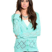 Long Sleeve Open Knit Button Up Cardigan