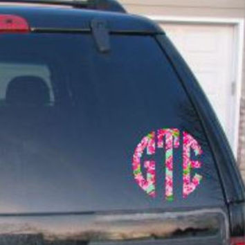 Lilly Pulitzer Inspired Car Decal Lily Preppy Decal Phone Decal laptop Decal Monogrammed Personalized  Monogram Sticker Chacha Cha cha