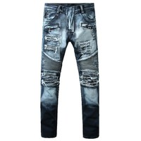 High Quality Men Ripped Jeans Fashion Men Hip Hop Design Blue Zipper Pocket Biker Jeans Casual Stretch Skinny Jeans Men Big Size