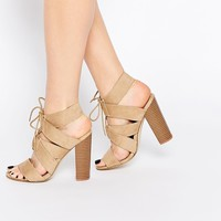 New Look Lace Up Block Heeled Sandals
