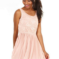 Lace Pleated Two-For Dress