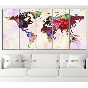 Large Wall Art Canvas Print Colorful World Map Paint Splash World Map Framed Giclee Map Canvas