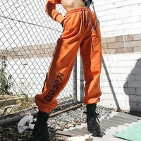 Women Casual Fashion Personality Letter Print Side Stripe High Waist Drawstring Sweatpants Leisure Pants Trousers