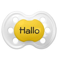 Yellow Hallo German Hello Cute Baby Binkie Soother