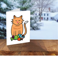 Cat Christmas Card, Orange Cat Holiday Cards, Christmas Fishes, Illustrated Cards, Cute Cat with Xmas Gifts, Illustrated, For Cat Lovers