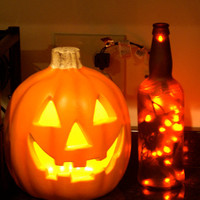 Autumn Decor Orange Lights in Brown Frosted Glass Bottle