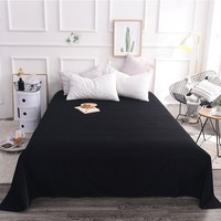 Low-Key Retro Pure Black 100% Cotton Flat Sheets Queen/King Size Single Bed Sheet With Elastic Home Textile Bedding 250x270cm