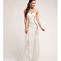 2014 Prom Dresses - Cream & Gold Beaded Halter Gown