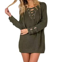 Autumn Winter Lace Up Front Knitted Sweater Women Sexy V-Neck Long Sleeve Long Sweater