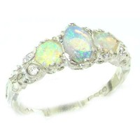 Ladies Solid Sterling Silver Natural Fiery Opal English Victorian Trilogy Ring - Size 6 - Finger Sizes 5 to 12 Available