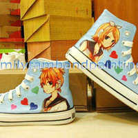 Vocaloid Converse Kagamine Rin and Len Custom Converse Shoes-Hand Paint on Converes Sneakers Inspired from Vocaloid Anime, Best Xmas Gift