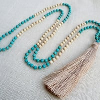 Latte tassel necklace - Small stone beads in Turquoise and cream with a latte tassel