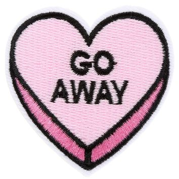 Go Away Heart Iron-On Woven Patch   Attitude Clothing