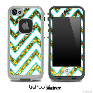 Large Chevron and Gold Sparkle V2 Skin for the iPhone 5 or 4/4s LifeProof Case