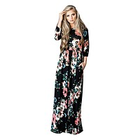 Spring and Fall Floral Printed Three Quarter Sleeve Maxi Dress