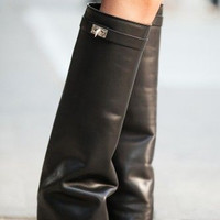 Hot Sale Celebrity Shark Lock Fold Over Wedge Boots Riding Boots Knee High Motorcycle Boots Leather Height Increasing Boots