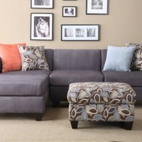 Florence Sectional Sofa in Microfiber Finish with ottoman and free accent Pillows (Charcoal)