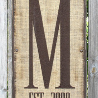 Personalized Monogram Family Name Sign, Initial Sign, Burlap Wall Art with Established Date